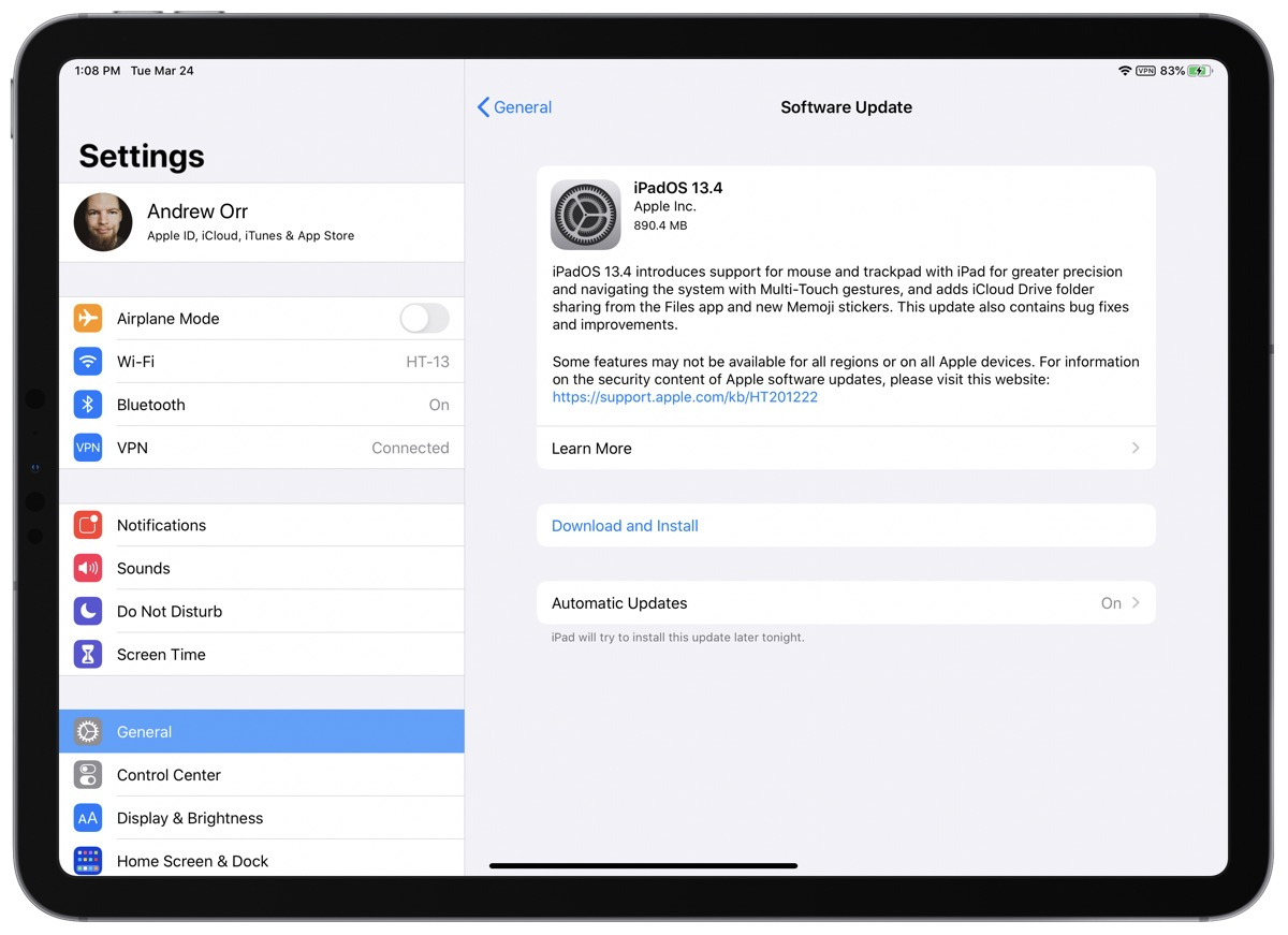 iPadOS 13.4 screenshot