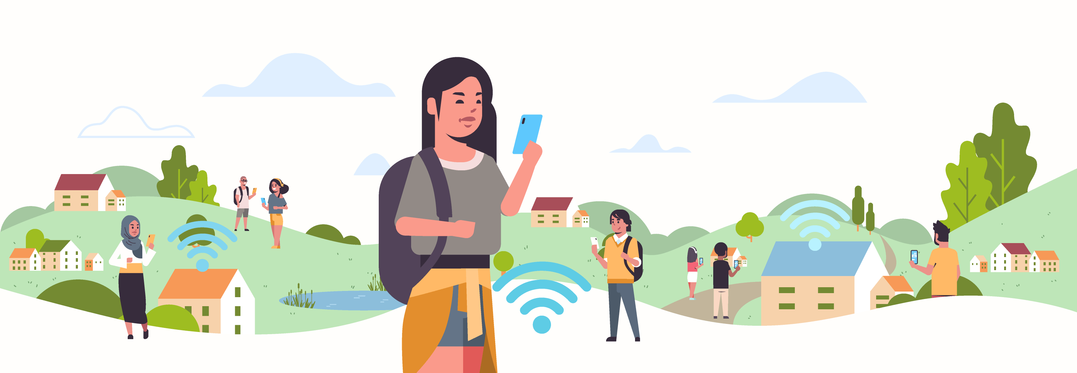 line art of people in a park with wi-fi