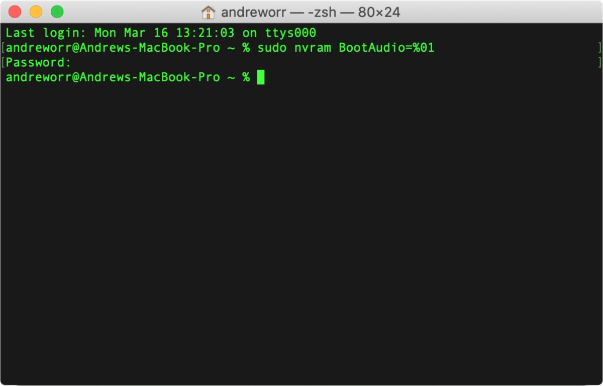 Restore the mac startup chime in terminal, as pictured here.