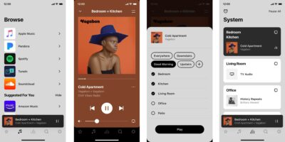 Screenshots of Sonos S2 App, including Room Groups