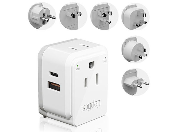 World Travel Plug Adapter with 6 Attachments:$24.99