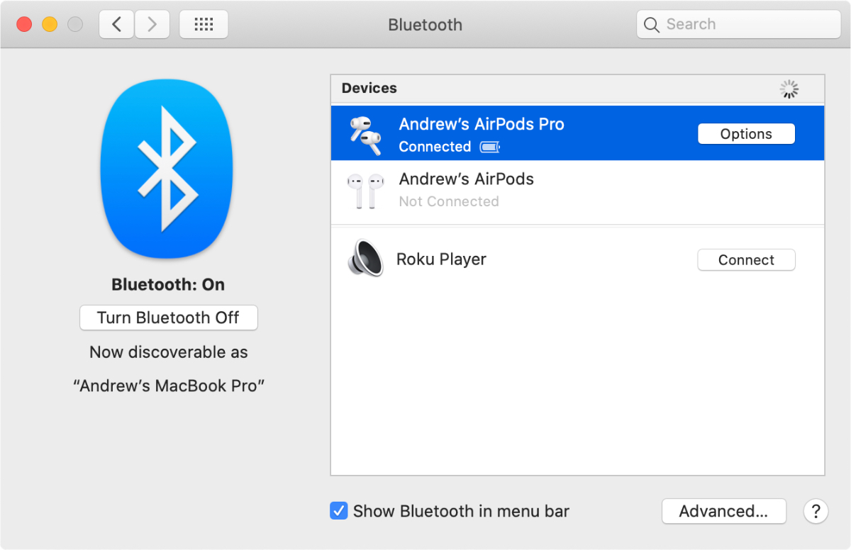 Connect airpods on a mac in system preferences.