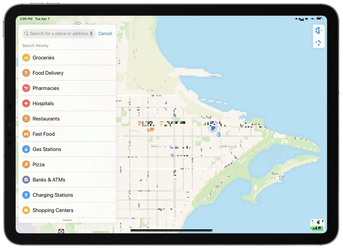 Screenshot of apple maps