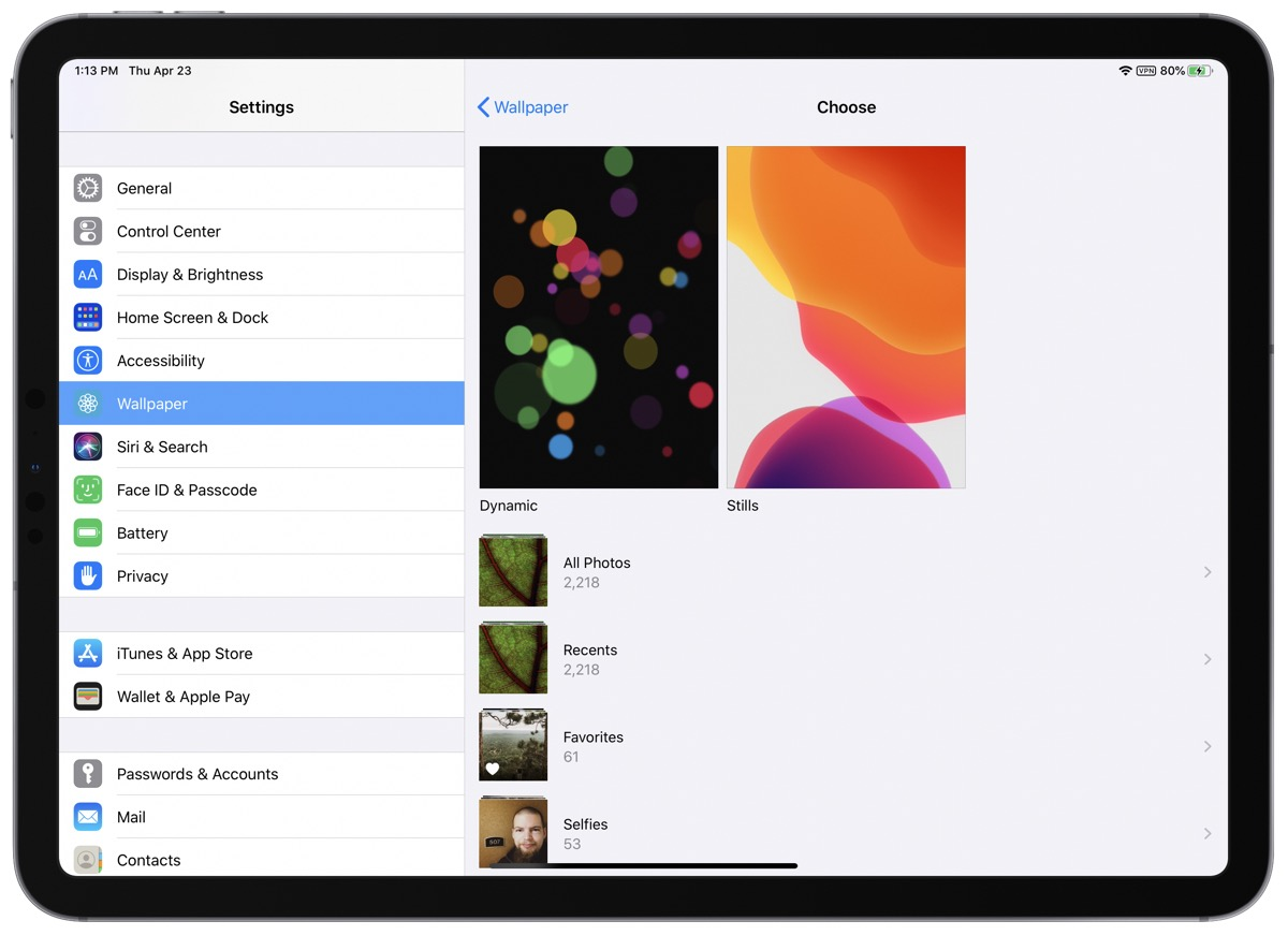 Image of settings on iPadOS to change home screen wallpaper.
