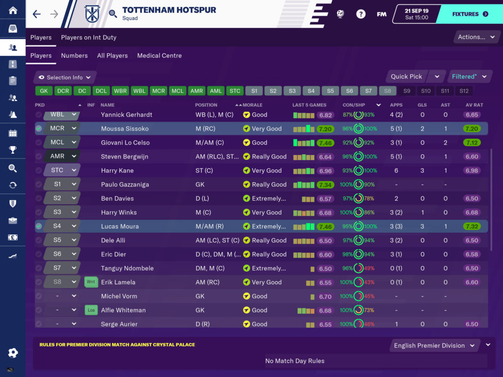 Team selection screen on Football Manager 2020 Touch