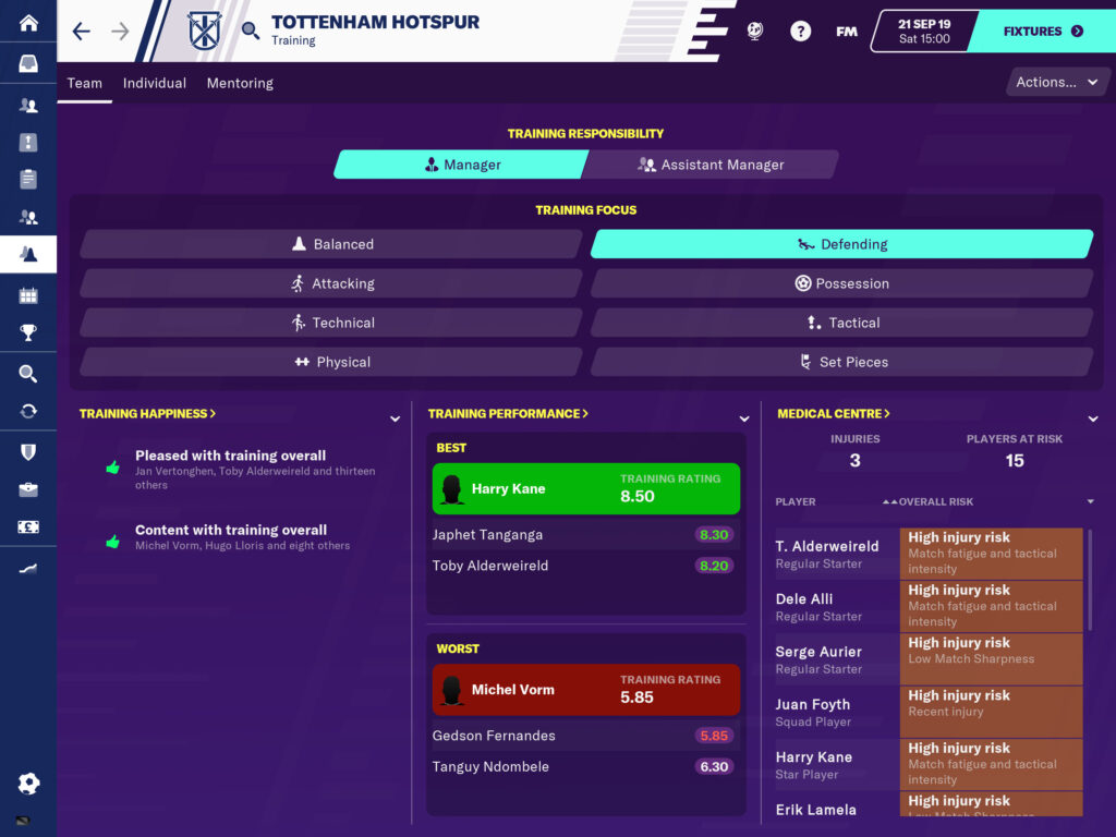 The Training screenr on Football Manager 2020 Touch