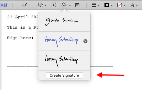 Signature list on file