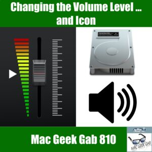 Images of various volume levels and icons, Mac Geek Gab 810