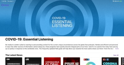 Screenshot of apple podcast's COVID-19 section