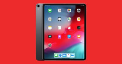 iPad Pro on a red background