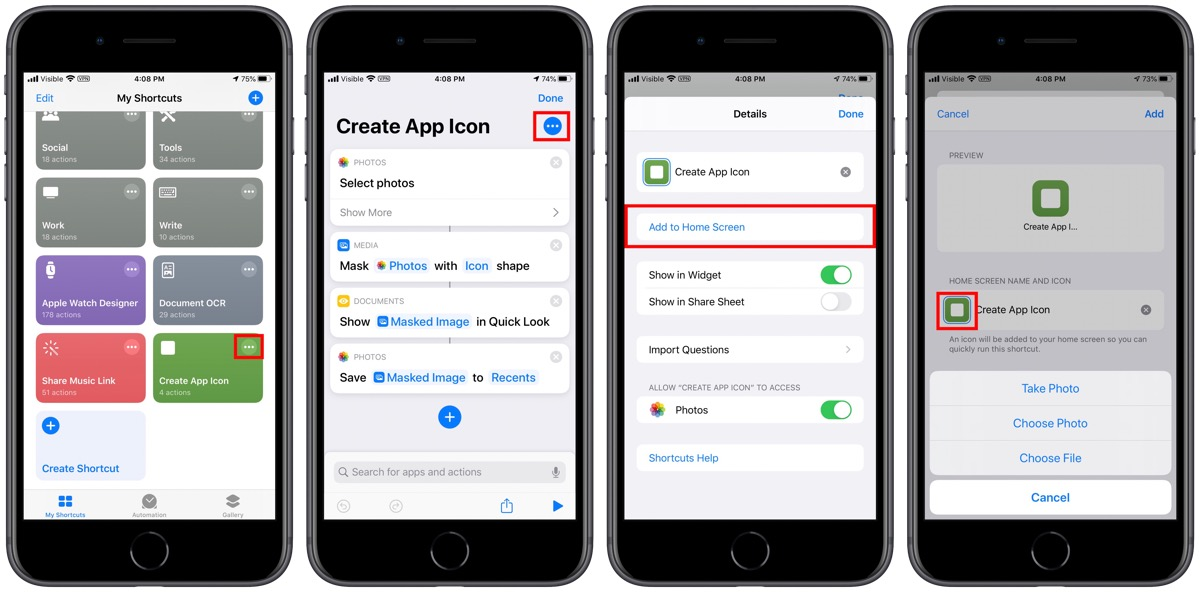 Custom icons home screen shortcuts