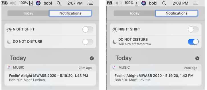 macOS Catalina's Do Not Disturb off (left) and on (right).
