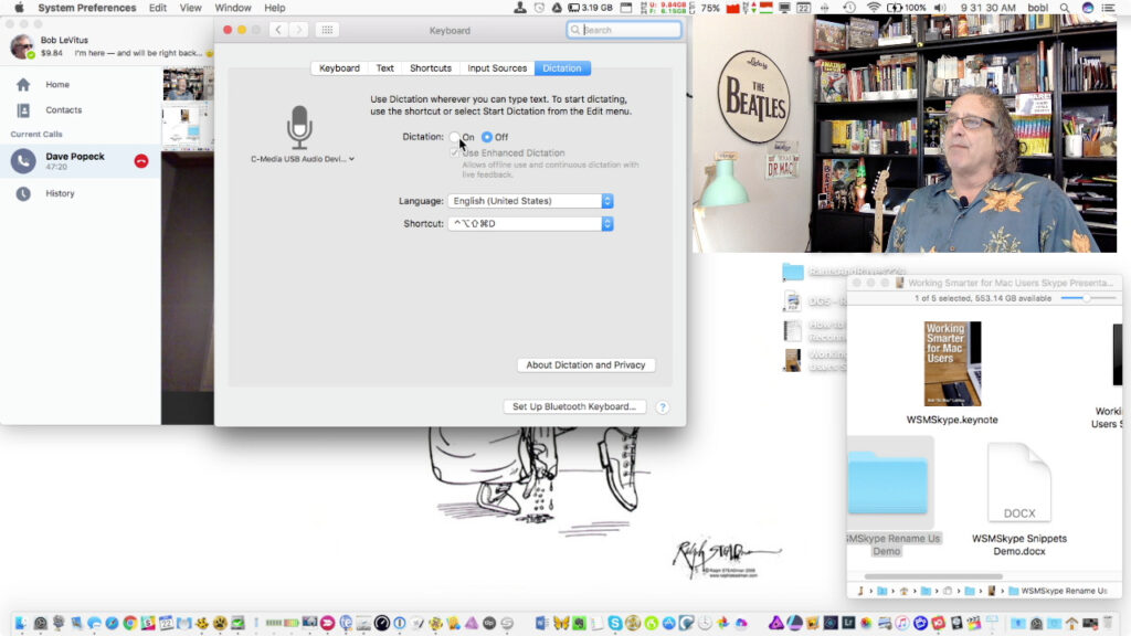 Me, using Picture-in-Picture to demonstrate dictation on my Mac.