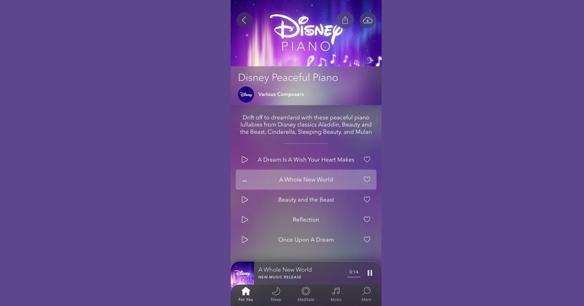 Calm App Adds 'Disney Peaceful Piano' Music to Help You Relax