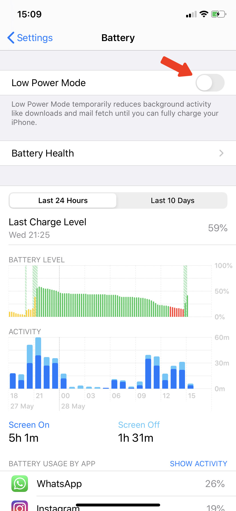 Turn on Low Power Mode iPhone