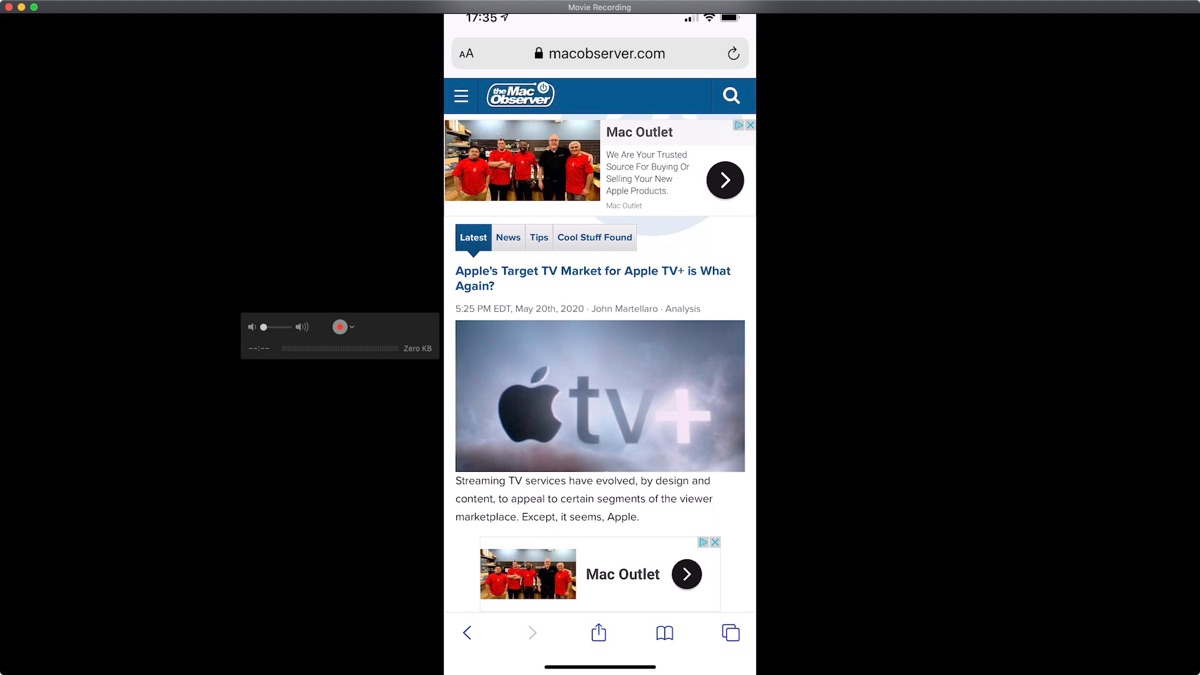 iPhone mirrored to Apple TV and its TV