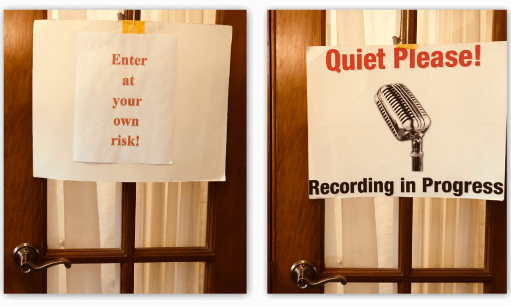 This reversible sign helps me reduce interruptions when I'm working.