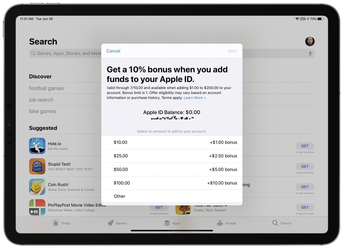 Screenshot that shows how to add funds to Apple ID in the App Store.