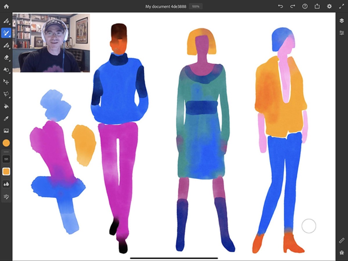 Image showing the ability to live stream in Adobe Fresco, one of the updates Adobe is rolling out.