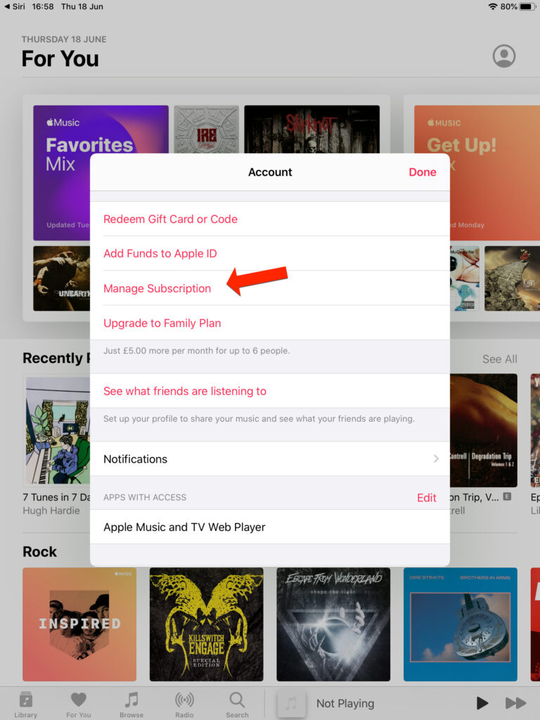 Apple Music in app cancel subscription
