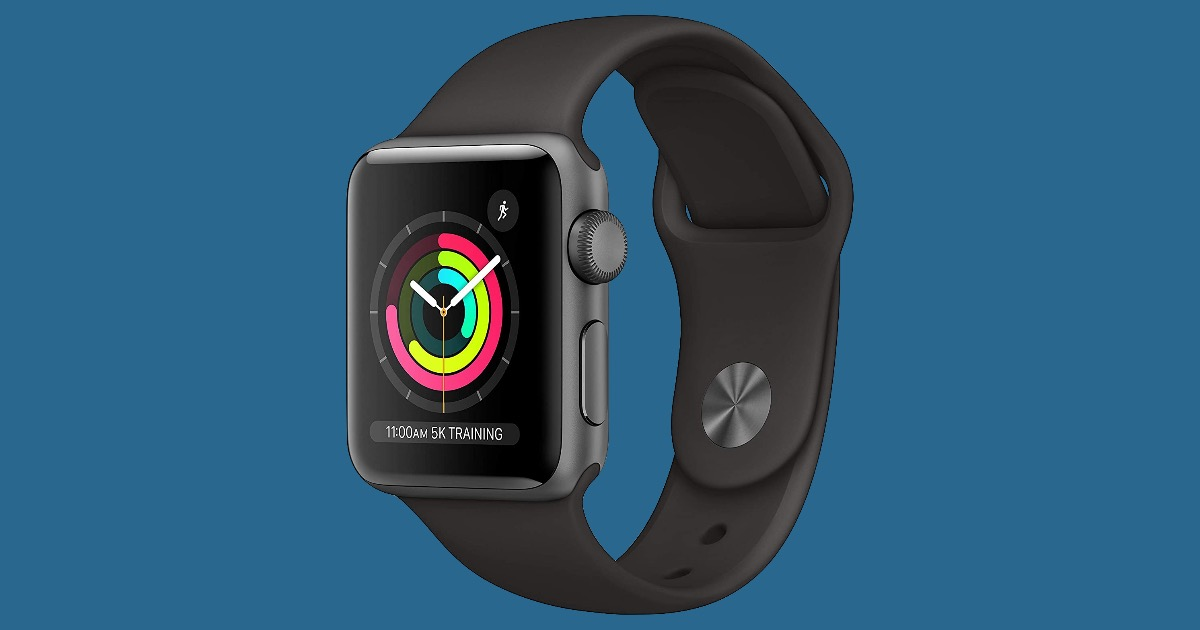 Space Gray Apple Watch Series 3 with black sports band.