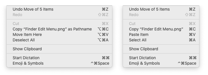 The Edit menu with (left) and without (right) the Option key.