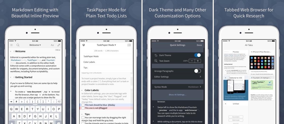 Editorial app screenshots