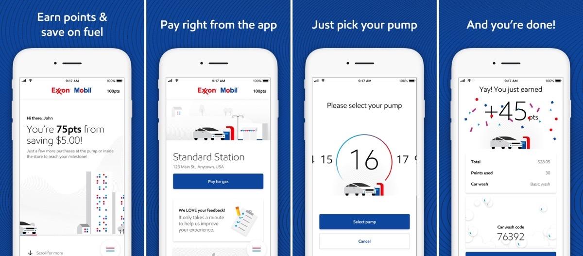Exxon Mobil rewards app screenshots