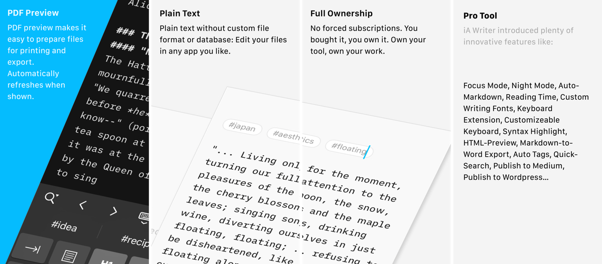 IA writer app screenshots
