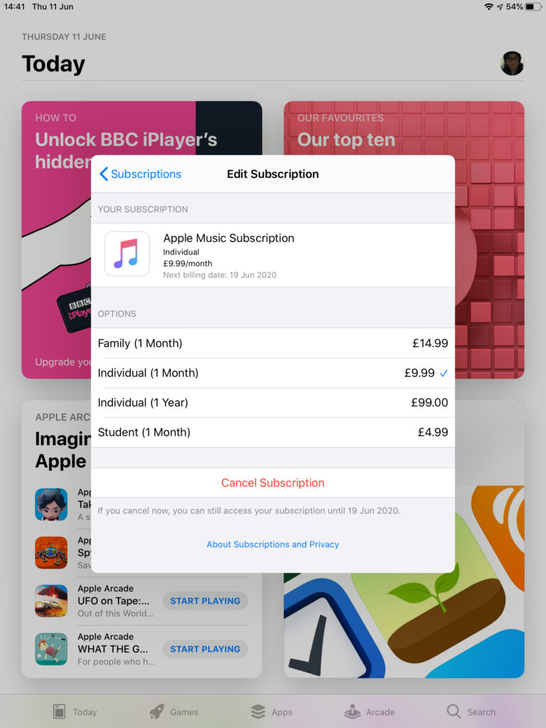 Screenshot showing Edit Subscription Window with Apple Music prices in Pounds