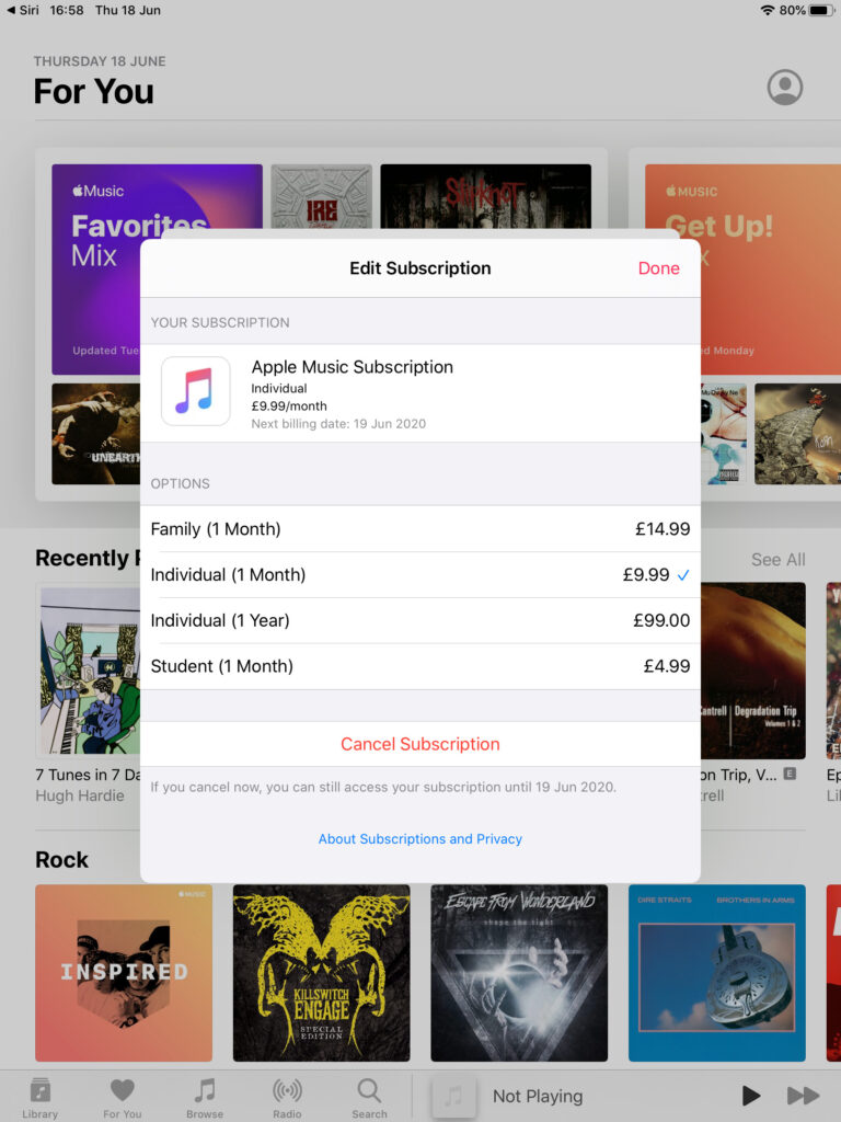 Screenshot showing Edit Subscription window for Apple Music