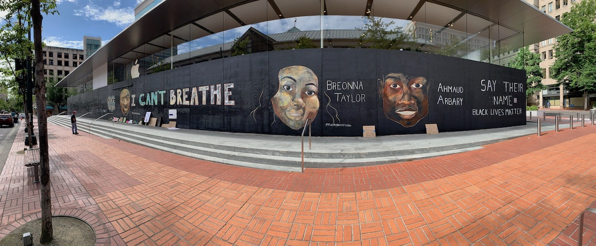Panoramic photo of the mural painted on the Pioneer Place Apple Store in Portland Oregon