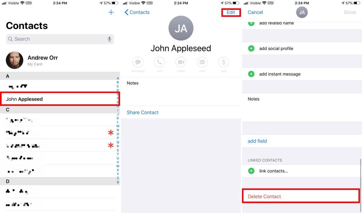 Image showing how to delete contacts on iPhone.