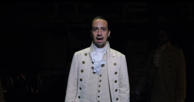 Lin Manuel Miranda in Hamilton on Disney+