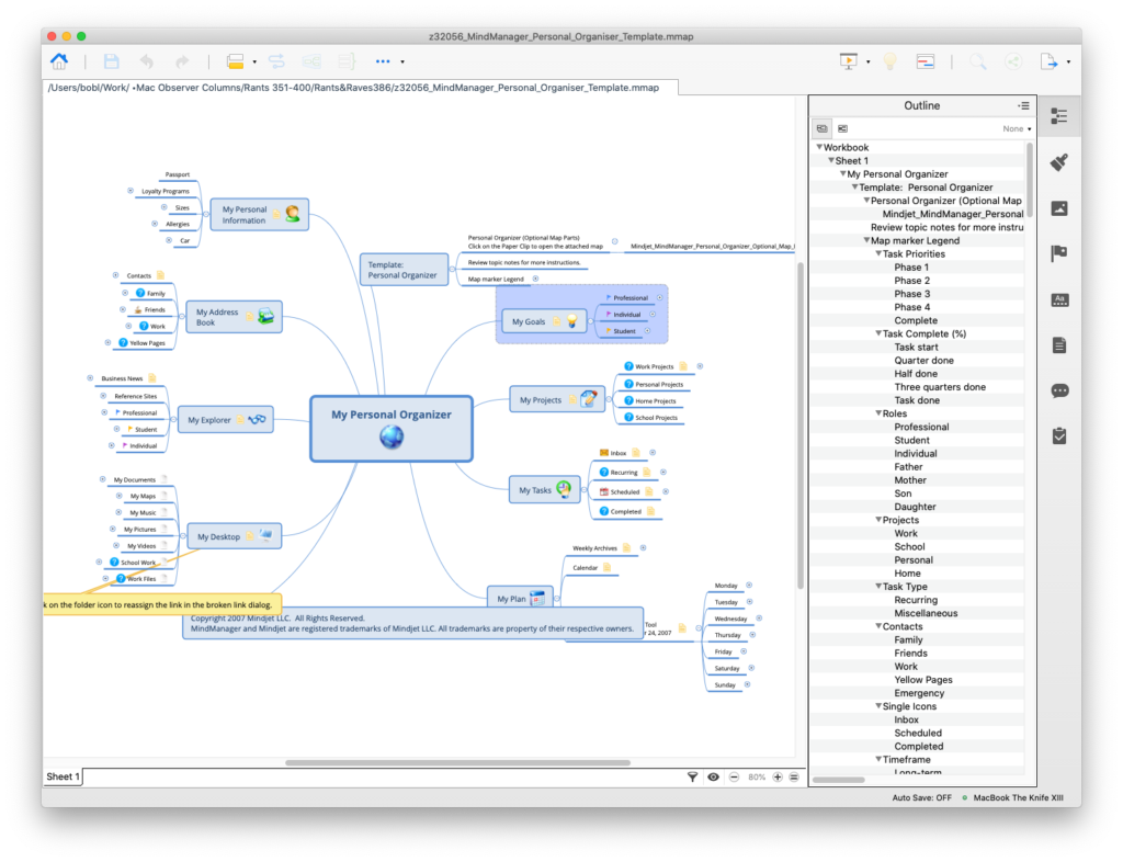 A mind-map (left) and its outline (right), shown in XMind.