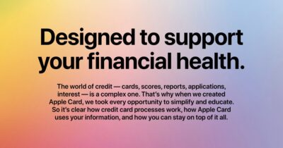 "Image from Apple Card web page that says, ""Designed to support your financial health."""