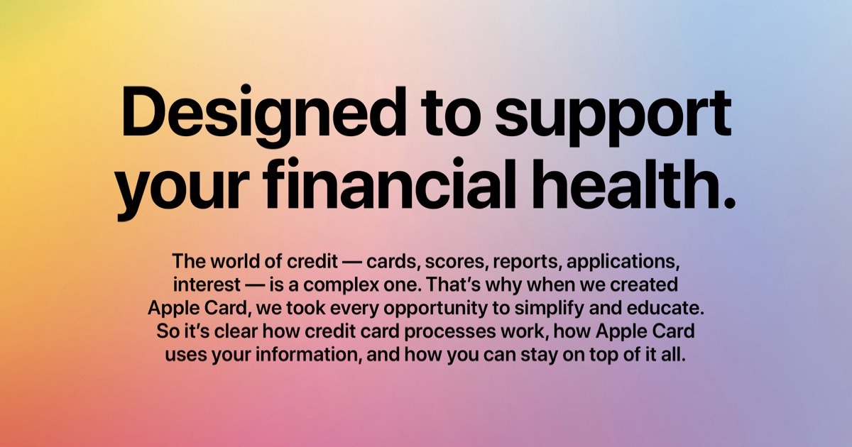 """Image from Apple Card web page that says, """"Designed to support your financial health."""""""