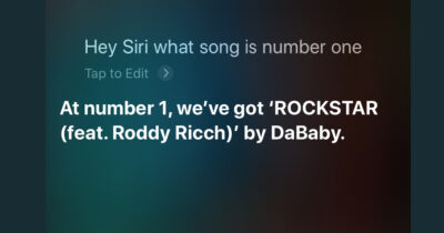 Siri saying which song is number 1