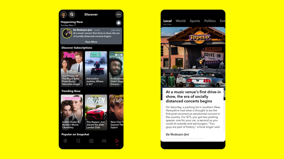 Announced at the 2020 Snap Partner Summit, this image shows the Discover Bar and. News highlights.