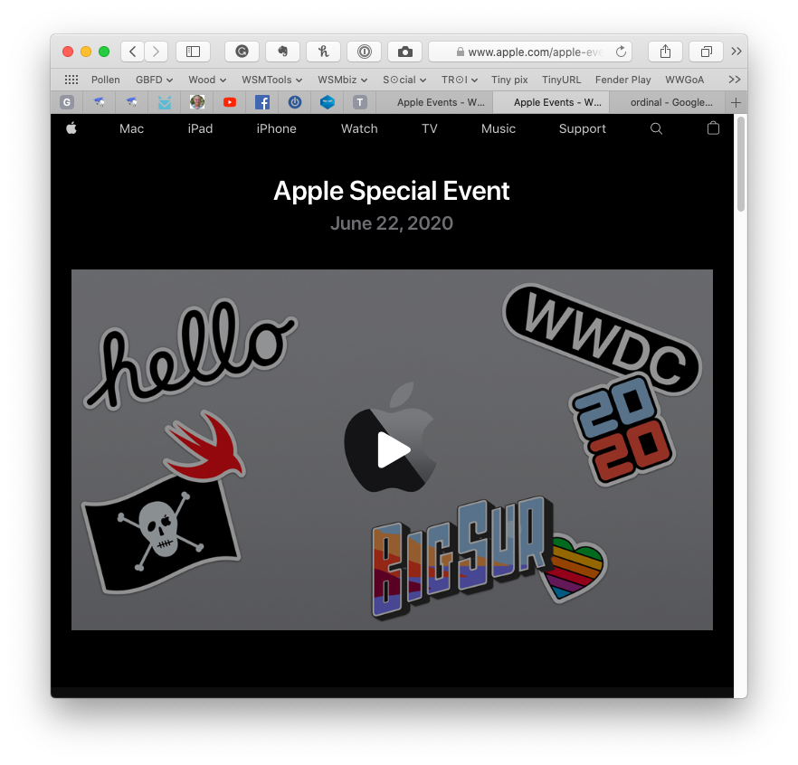 screen shot of Apple special event window.