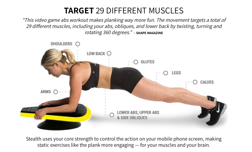 The Stealth Core Trainer makes planking exercises fun.
