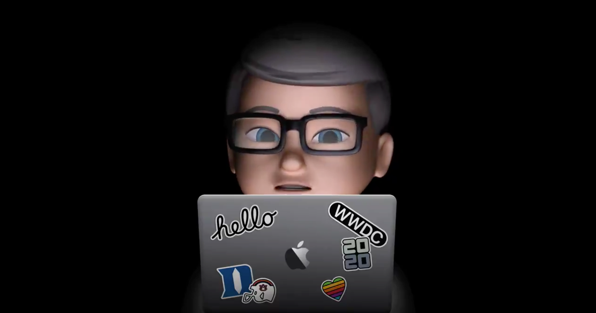 Tim Cook welcoming developers to WWDC... as an animated Memoji