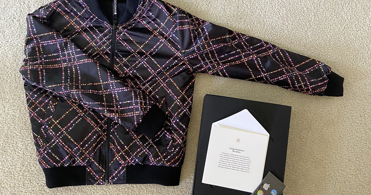 WWDC 2020 jacket at pins given to Student Swift Challenge