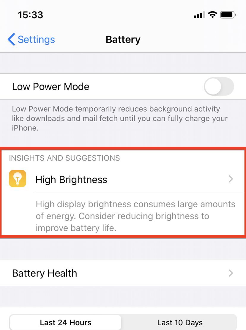 iPhone Brightness Battery life
