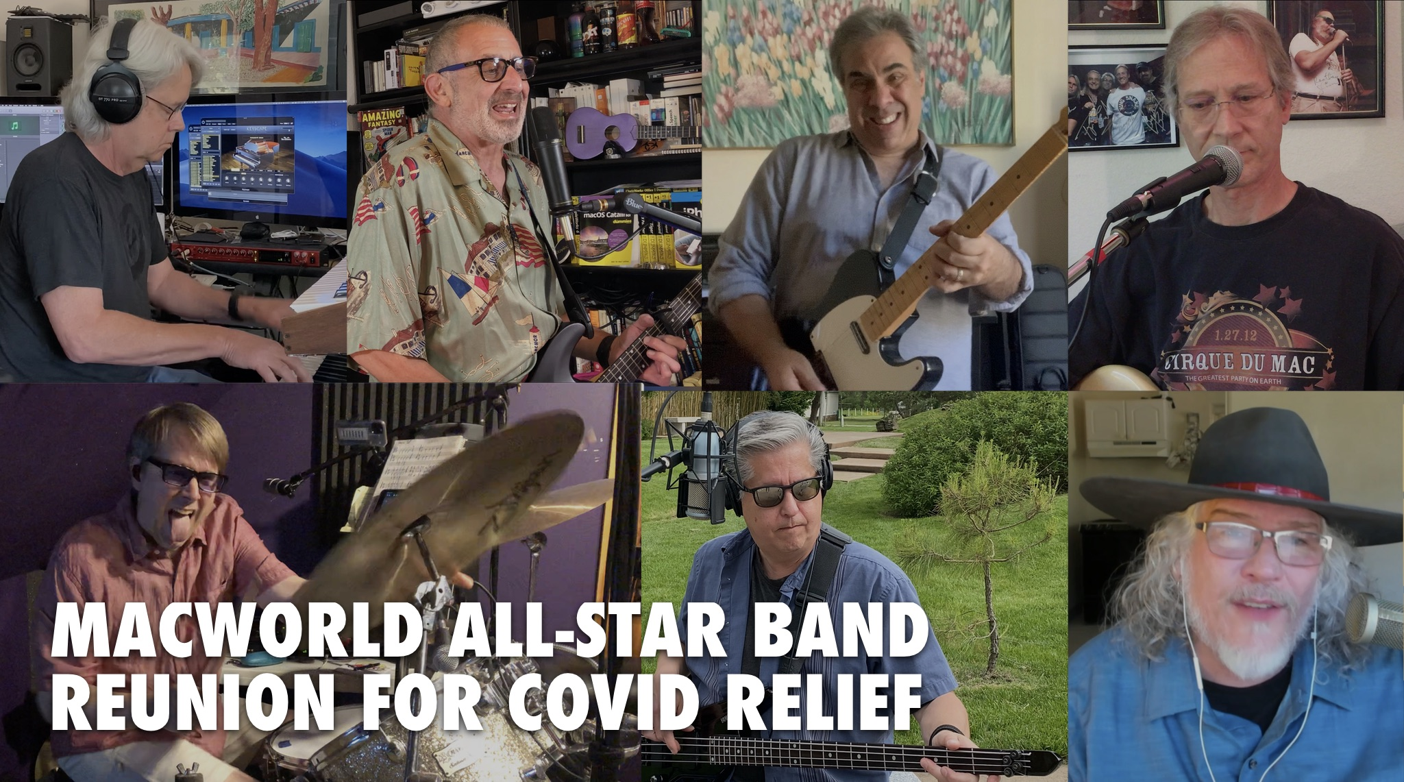 Thumbnails of the Macworld All-Star Band, reuniting during the pandemic