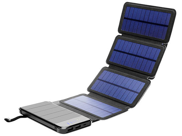 4-Panel Foldable Solar Phone Charger & 10,000mAh Power Bank