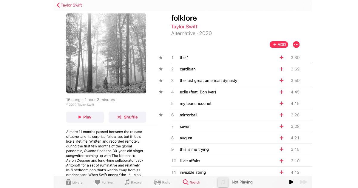 New Taylor Swift Album 'Folklore' on Apple Music