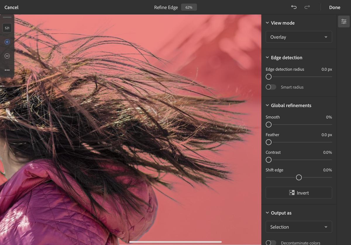 Screenshot of Adobe refine edge brush At work