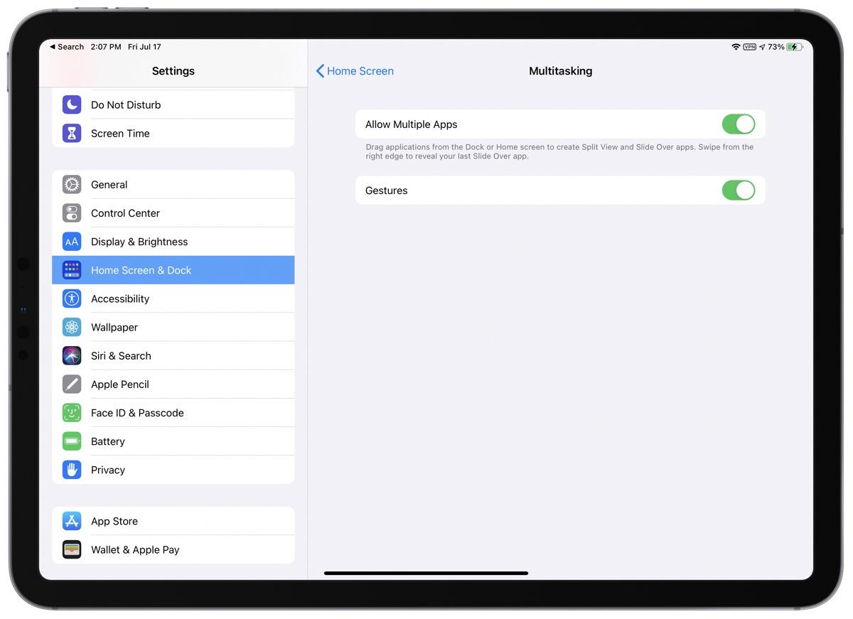 Screenshot of Multitasking in iPad settings