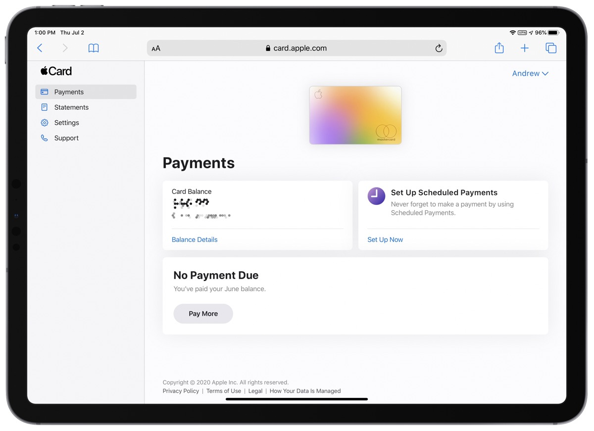 Screenshot that shows you how to Pay Apple Card bills online